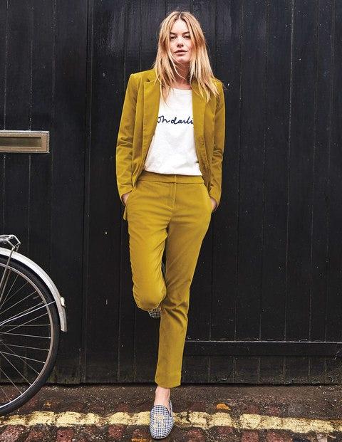 Velvet Straight Leg Trousers - Hot Mustard