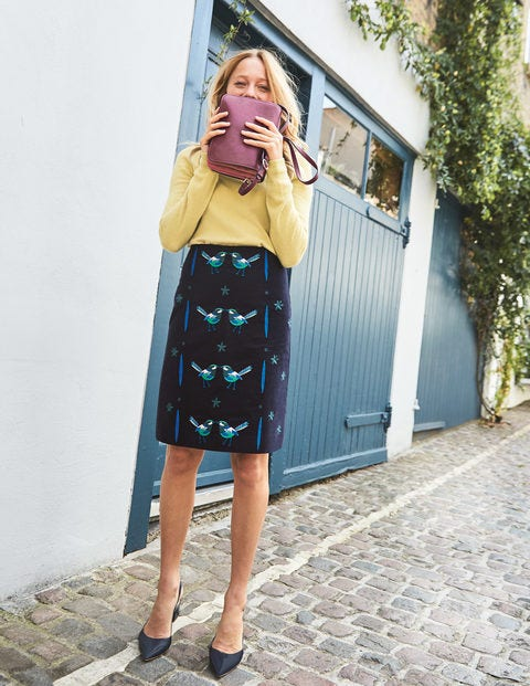 Fun Embroidered Skirt - Navy
