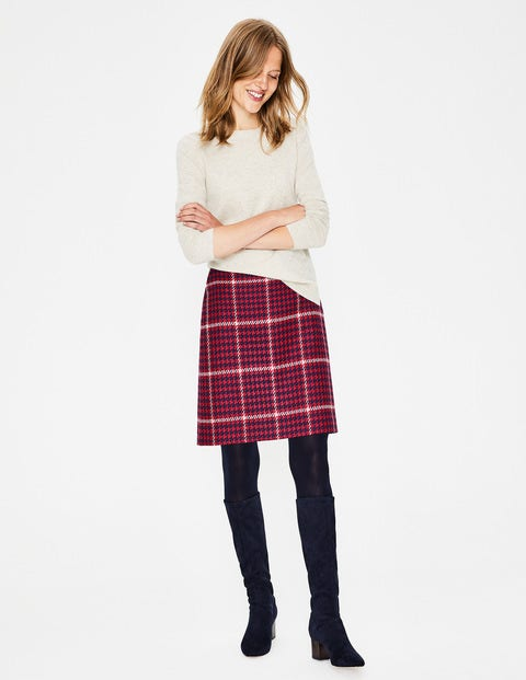 British Tweed Mini Skirt - Post Box Red and Navy Check