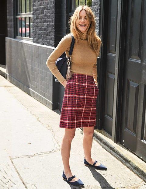 British Tweed Mini Skirt - Post Box Red and Navy Check