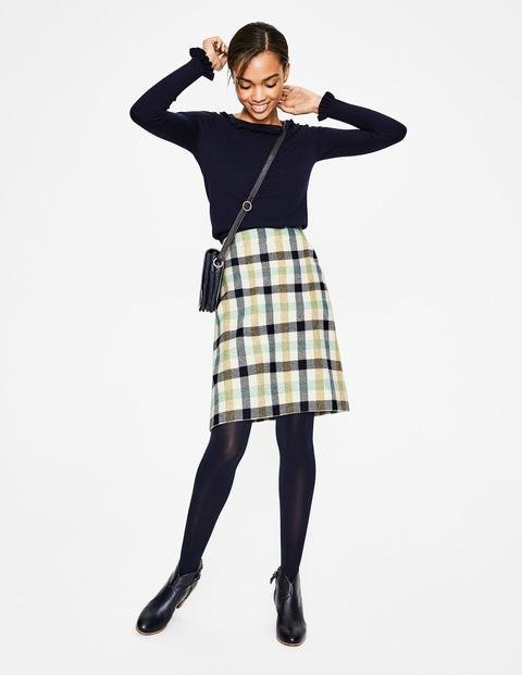 British Tweed Mini Skirt - Aquamarine and English Mustard