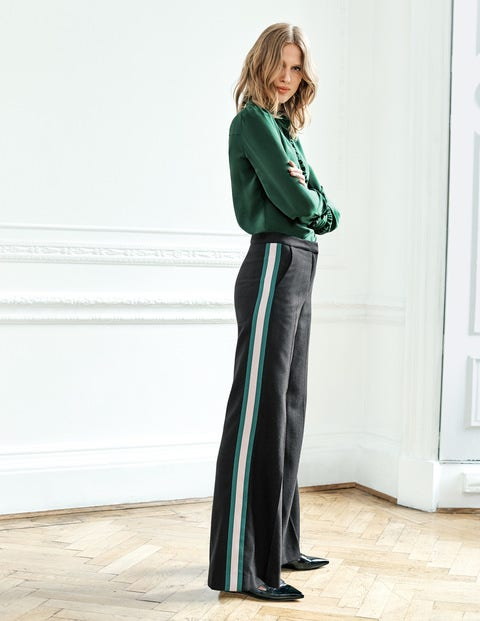 Sherborne Side Stripe Trousers - Black with Stripe