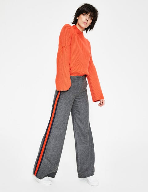 Sherborne Side Stripe Trousers - Charcoal with Stripe