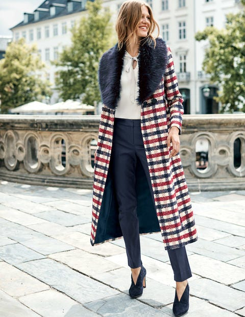 Burley Coat - Navy and Wine Check