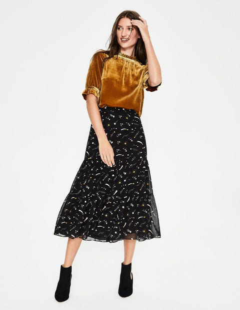 Frome Midi Skirt - Black and Trumpet Cosmic