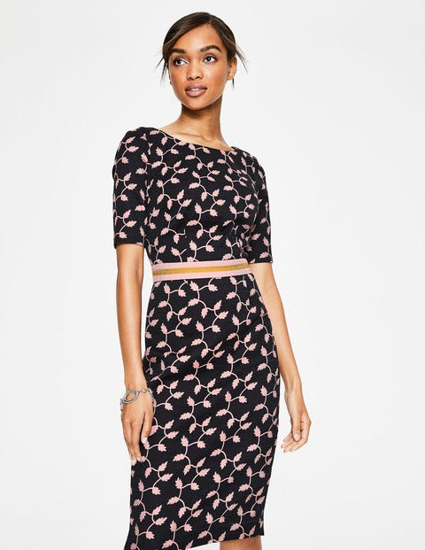 Fleur Fitted Dress - Black, Leaf Trellis Large