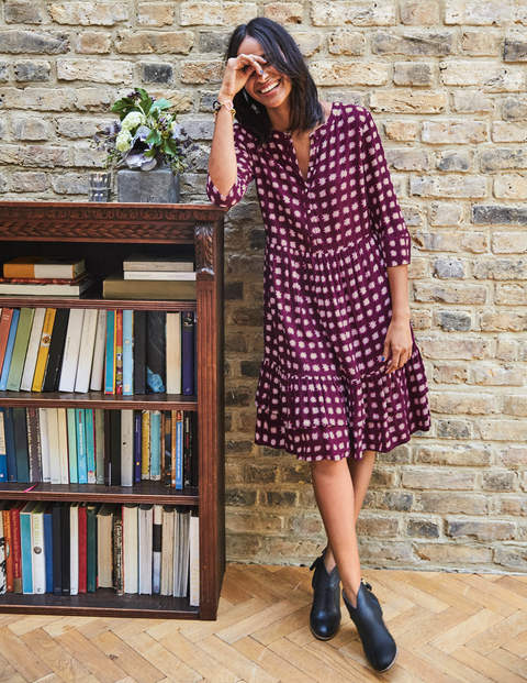 Relaxed Tiered Hem Shirt Dress - Mulled Wine Pow