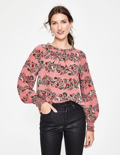 Sadie Silk Top - Blush Flourish Stripe
