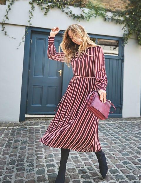 Alba Midi Dress - Mulled Wine Milkshake Stripe