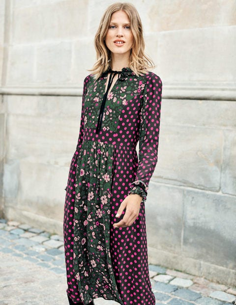 Cecilla Midi Dress - Chatsworth Green Bloom