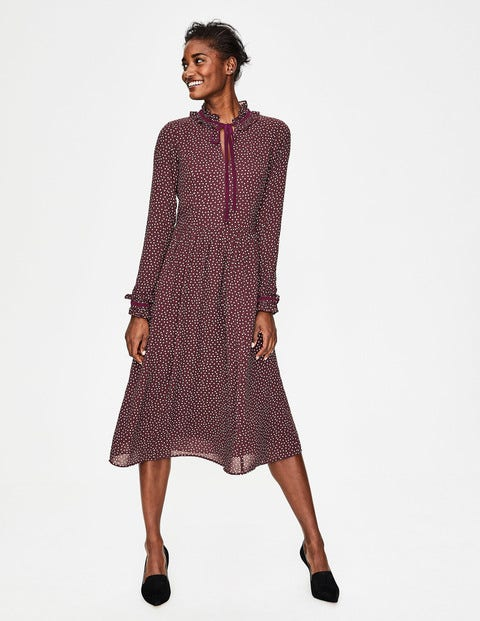 Cecilla Midi Dress - Mulled Wine Scattered Spot