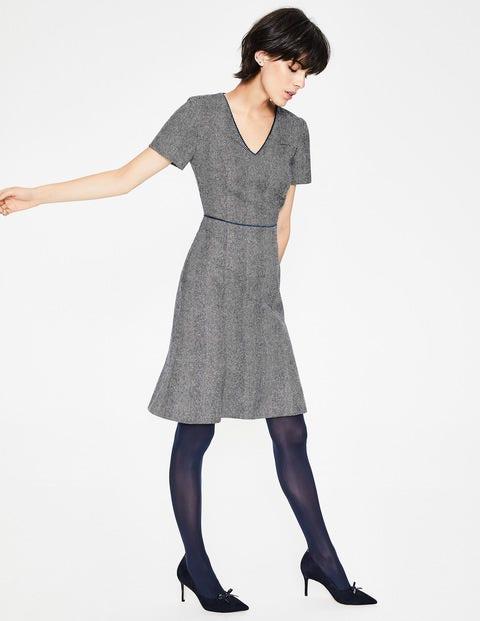 Albany Tweed Dress - Navy and Ivory Herringbone