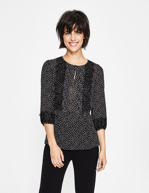 Cynthia Top - Black, Scattered Spot
