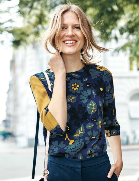 Leonora Top - Navy and Trumpet, Bloom