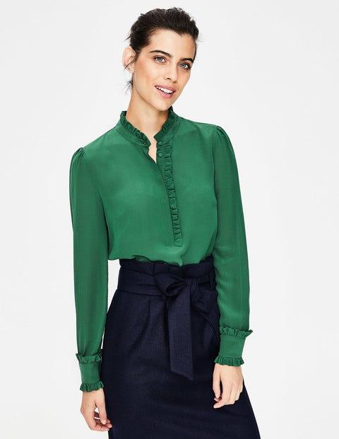 Romaine Silk Shirt - Amazon Green