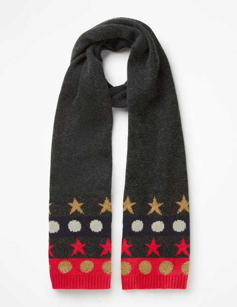 Novelty Scarf - Charcoal Melange Spots & Stars