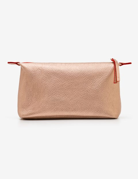 Small Leather Washbag - Rose Gold Metallic