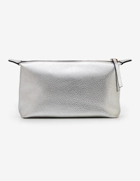 Small Leather Washbag - Silver Metallic