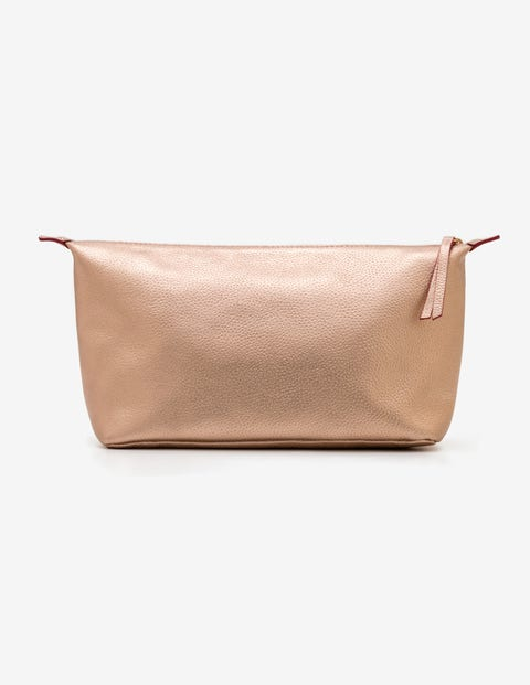 Large Leather Washbag - Rose Gold Metallic