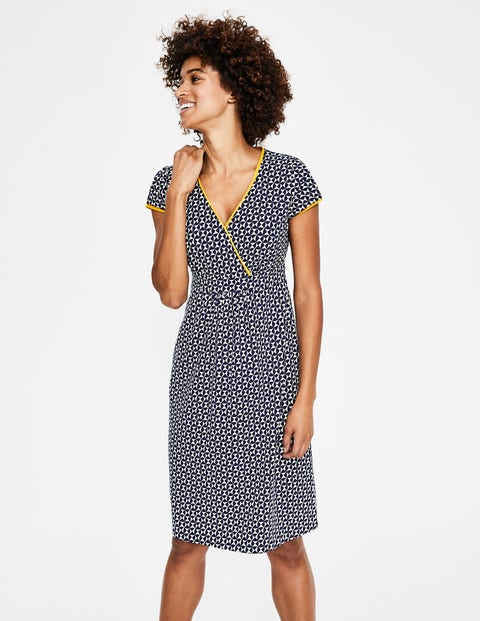 Casual Jersey Dress - Navy Graphic Geo