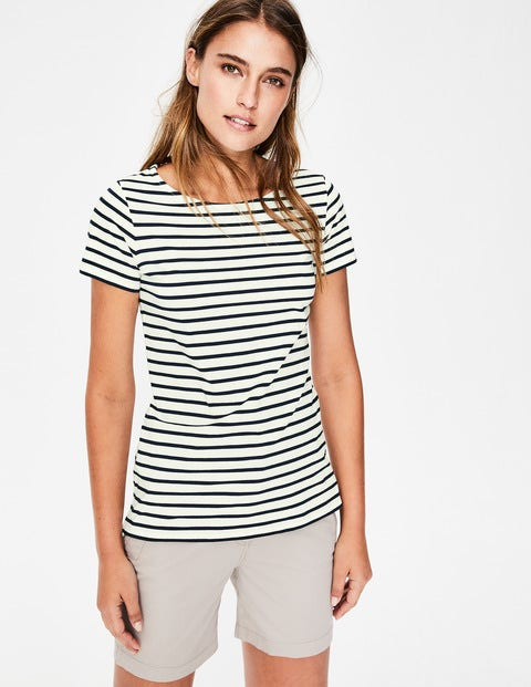 Short Sleeve Breton - Ivory/Navy