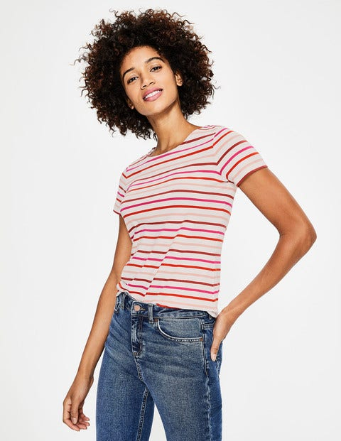 Short Sleeve Breton - Rouge/Chalky Pink Multi