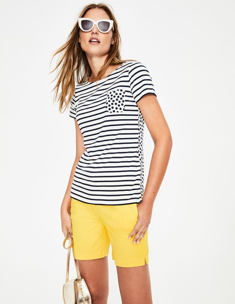 Short Sleeve Breton - Ivory/Navy Pocket Spot
