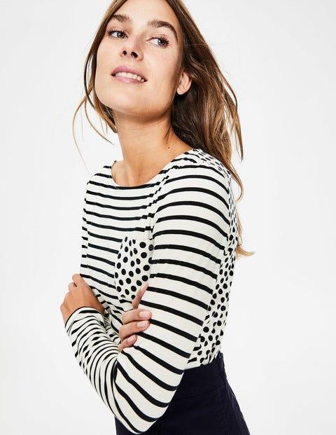 Long Sleeve Breton - Ivory/Navy Pocket Spot