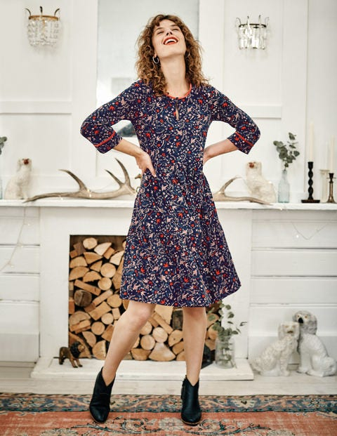 Claire Jersey Dress - Navy Woodland