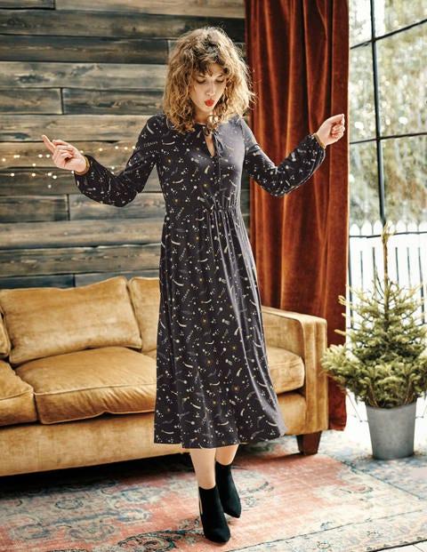 Flora Jersey Midi Dress - Black Cosmic