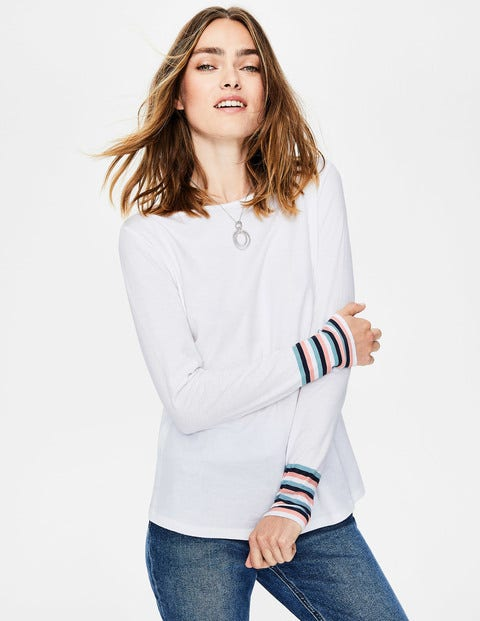 Striped Cuff Tee - White Multi Stripe