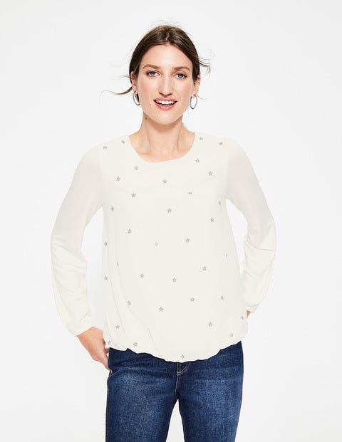 Tori Embroidered Top - Ivory/Gold
