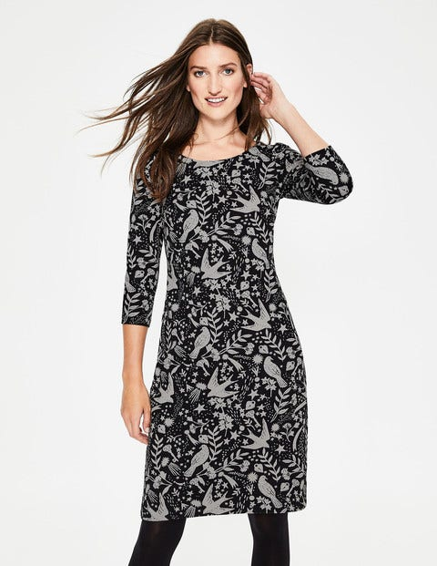 Winifred Jersey Jacquard Dress - Black Mystic Woodland