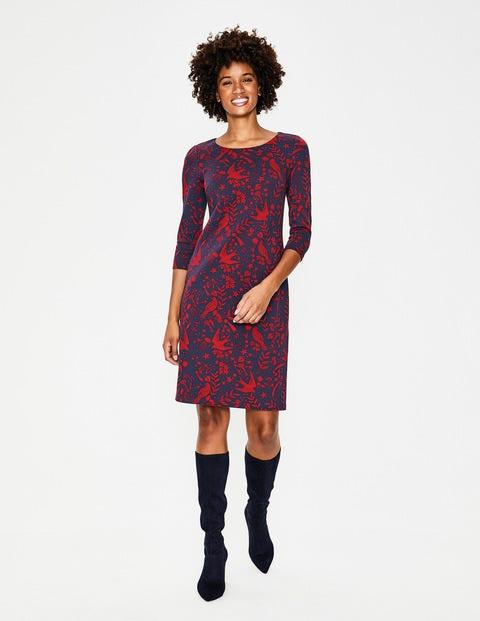 Winifred Jersey Jacquard Dress - Navy Mystic Woodland