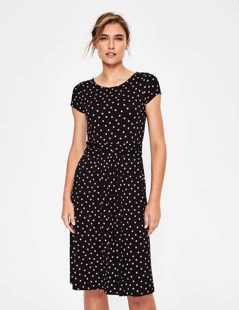 Amelie Jersey Dress - Black/Chalky Pink Spot