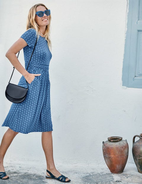 Amelie Jersey Dress - Cabin/Navy Mosaic Tile