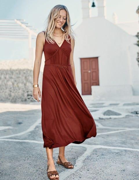 Elina Jersey Midi Dress - Conker