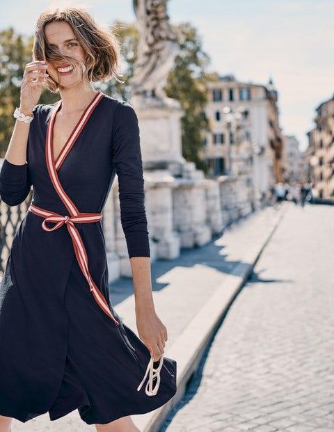 Cara Jersey Wrap Dress - Navy