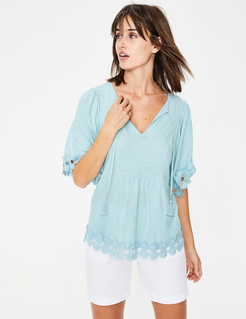 Ayla Jersey Top - Heron Blue