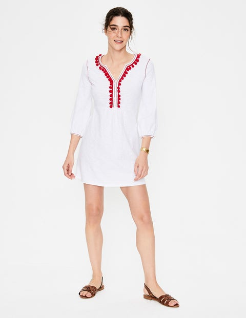 Carina Jersey Tunic - White/Red Pop Trim