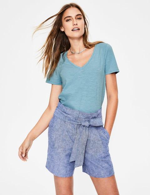 The Cotton V-Neck Tee - Heron Blue