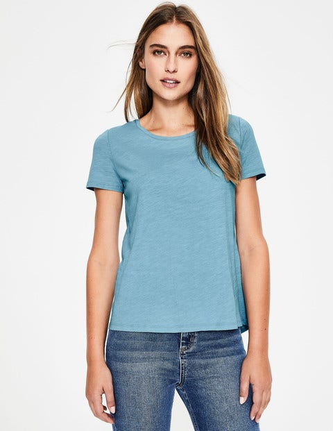 The Cotton Back Detail Tee - Heron Blue