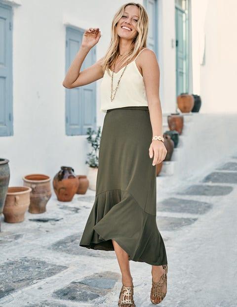 Fluted Hem Jersey Skirt - Classic Khaki