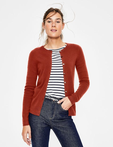 Cashmere Crew Cardigan - Conker