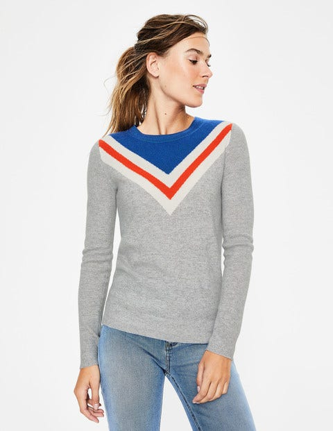 Cashmere Crew Neck Sweater - Chevron