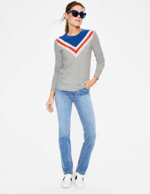 Cashmere Crew Neck Sweater - Chevron