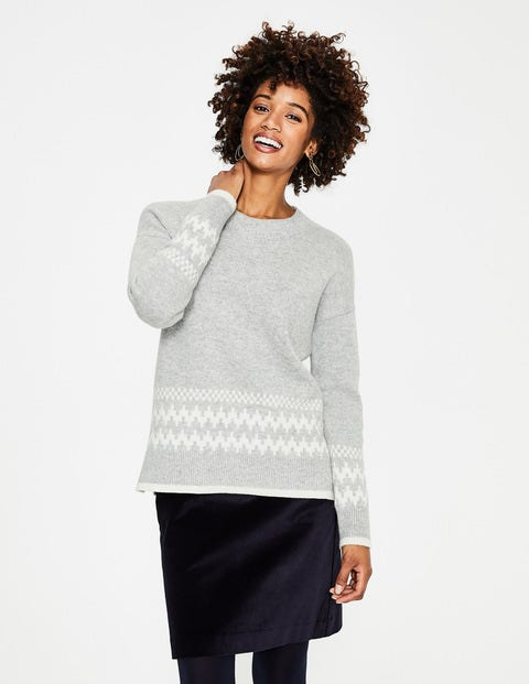 Theodora Fair Isle Sweater - Grey Melange