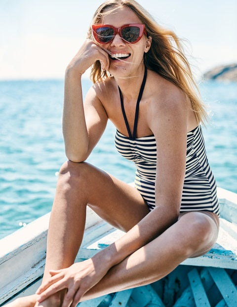 Sardinia Swimsuit - Navy/Ivory Stripe