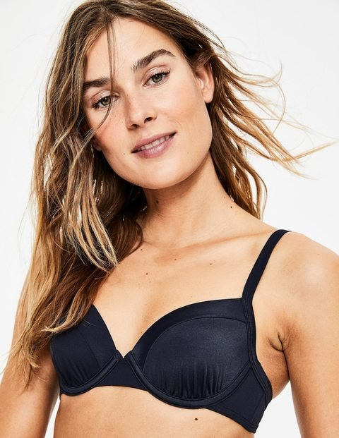 Milos Cup-Size Bikini Top - Navy Colourblock