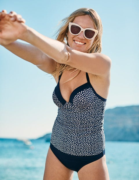 Milos Cup-size Tankini Top - Navy/Ivory Spot